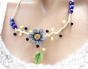 Cinquefoil flower Necklace blue cold porcelain