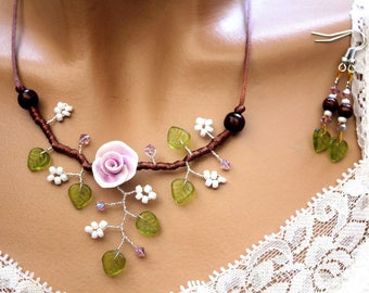 Purple floral jewelry set