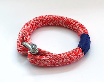 Men's red and white nautical rope bracelet with stainless steel shackle 8mm
