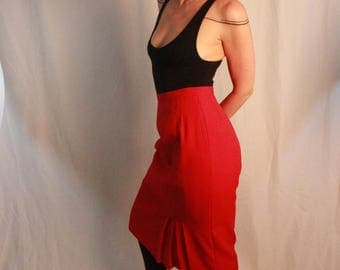 True Red Vintage Skirt.  Vintage Business Lady.