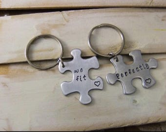 We Fit Perfectly Keychain Set -Couples Keychain/ Couple Keychain/Anniversary Gift/Birthday Gift/Personalized Keychain/Sister Keychain