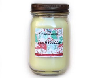 Fresh Cookies 16 oz Candle, Mason Jar Candle, Wood Wick Candle, Organic Candle, BobbiesHeavenScents