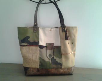 Burlap and camouflage canvas tote