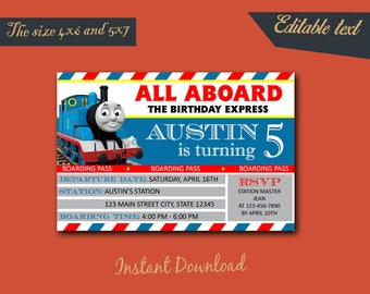 Thomas The Train Editable Invitation / Thomas The Train Birthday / Thomas The Train Birthday Invitation / Thomas Editable-411