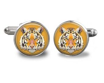 Tiger cufflinks cat cufflinks animal cufflinks tiger gift mens cufflinks glass cufflinks silver cufflinks mens cuff links