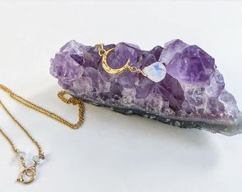 Crescent Moon Rainbow Moonstone Necklace / Moonchild / Bohemian jewelry / spectrolite / dainty jewelry /