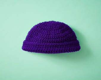 Crocheted Purple Baby Hat