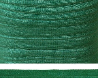 FOREST GREEN Fold Over Elastic - FOE - 5 Yards - Solid Fold Over Elastic - 5/8 Elastic - Green Ribbon - Green Elastic