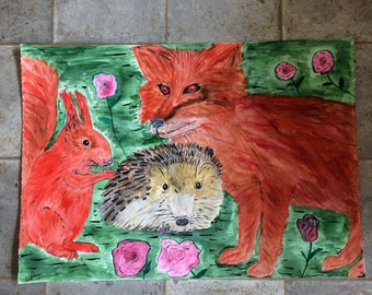 Original One off Watercolour of Fox, Hedgehog and Red Squirel entitled Angels of the Woodlands