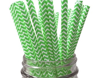 Green Chevron 25pc Paper Straws