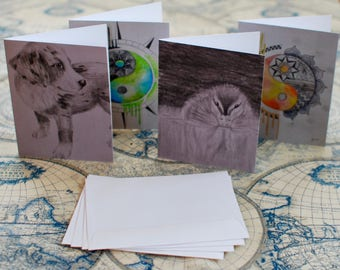 """Assorted Watercolor/Graphite Notecard Set of 20 - 5.5""""x4"""""""