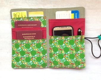 """Passport holder """"wanderlust with zipper"""" design, travel organizer"""