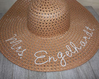 MRS LAST NAME Floppy Sun Hat. Large Brim, Packable, and Durable. Bride Gift
