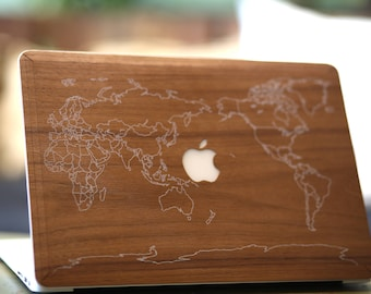 Macbook Wood Case for Apple Mac Air Pro 11 13 inch - Walnut Wood Mac book Case - Mac Skin - Mac Sticker - Mac Cover Mac Case for gift