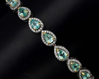 "Classic bracelet with blue apatite ""Ren"" Light Green"