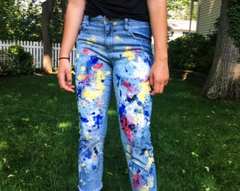 Hand Painted Artist's Jeans