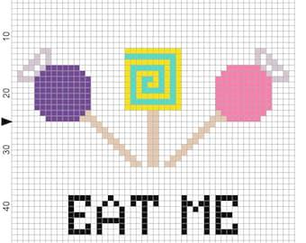 "Candy ""Eat Me"" Cross Stitch Pattern"