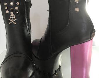 Ankle boots, punk retro, platform, hot pink block heels, skulls spikes and studs