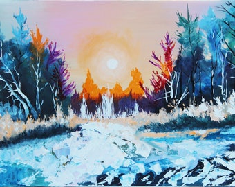 Winter landscape oil paintings Winter oil painting Trees oil painting Sunset in winter forest Sunset in forest paintings Original artwork