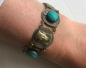 Vintage 1930s Egyptian Brass and Turquoise Bracelet