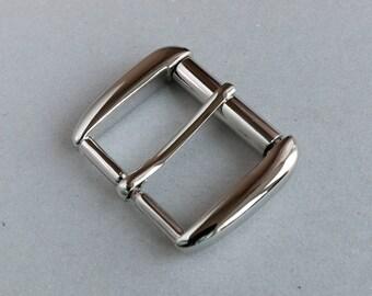 Belt buckle 40mm, made in Italy, ZAMAK belt buckle, nickel finish. Code 11725932