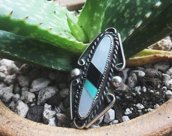 Beautiful 1970s Sterling Ring with Turquoise Onyx and Mother of Pearl