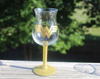 Wonder Woman Themed Gold Glitter Base Hurricane Glass