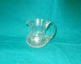 """cut glass jug/pitcher, engraved and etched/ 3 3/4""""/ glassware/British"""