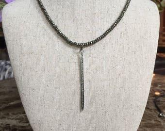 Pave diamond spike necklace