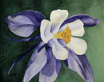 Columbine, Set of 5 Note Cards with Envelopes from Original Watercolor Painting