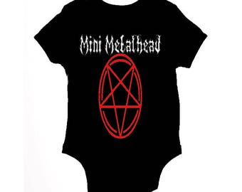 Mini Metalhead funny baby grow - baby clothes