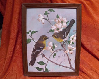 Lithographic print of two yellow finches on a dogwood tree by Saron