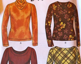 Very Versatile Turtleneck or Scoop neck Top Pattern---New Look 6779---Sizes 8-18  UNCUT