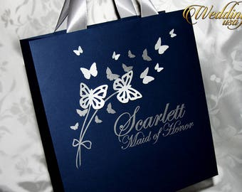 Navy Blue Bridesmaids Bags with Silver ribbon, Butterfly and name - Personalized Bachelorette Party Gift Paper Bags - Wedding Welcome Bags