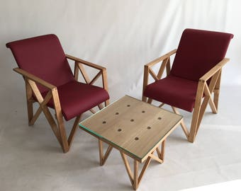 Design chairs with table, design chair, Designtische, glass 10 mm