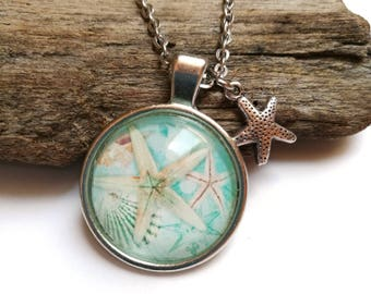 Starfish pendant, silver col. necklace with starfish charm, glass cabochon pendant, glass dome, summer jewelry beach jewelry sea blue