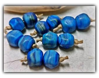Deep Ocean Blue Accents**Handmade Lampwork Beads**