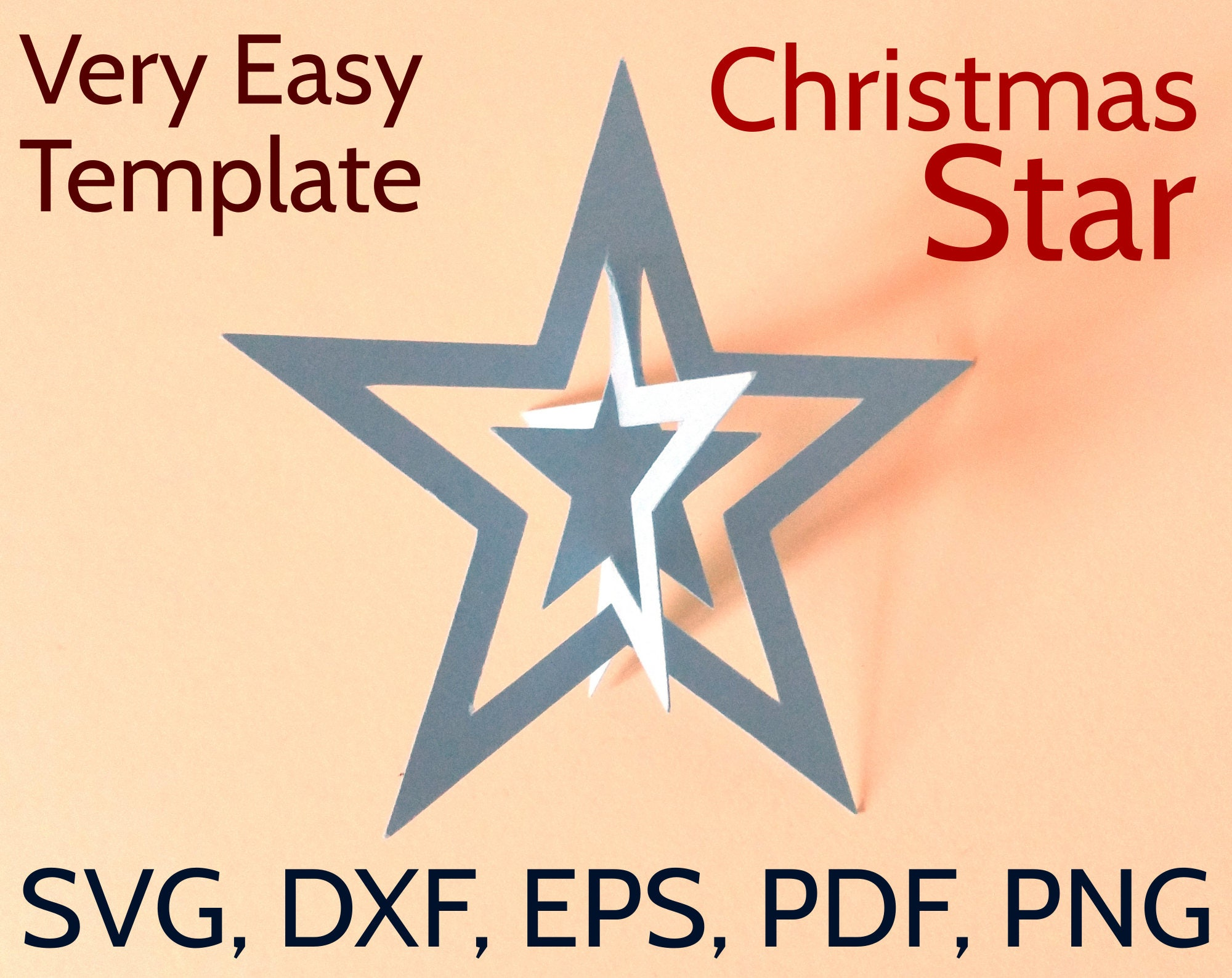 3d paper christmas star svg and pdf template 3d christmas star design chrismas svgs. Black Bedroom Furniture Sets. Home Design Ideas