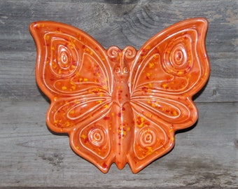 Vintage 1973 Orange Ceramic Butterfly / Spoon Rest / Jewelry Dish / Wall Hanging /Fall Decor /Red and Yellow Splatter