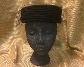 Vintage Dayne pillbox hat with veil