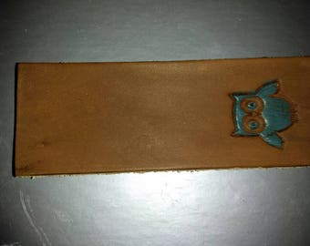 Owl bookmark in leather