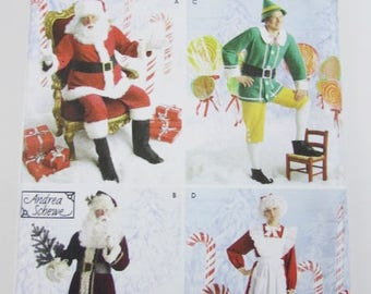 Santa, Elf, Mrs Claus, Father Christmas Holiday Costumes Simplicity 4393 - Uncut