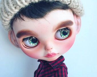"OOAK Custom Blythe doll  boy TBL ""Wolf"" art"