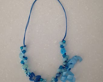 Girls Necklace blue with butterfly and bow, hand made