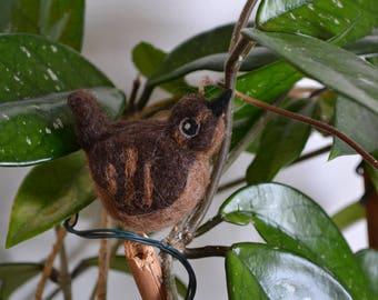 Hand felted wool bird - wren