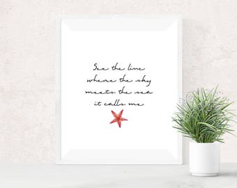 Moana Printable Art - Disney Princess - How Far I'll Go - Princess Moana Decor - Moana Song Lyric - Where the Sky Meets the Sea It Calls Me