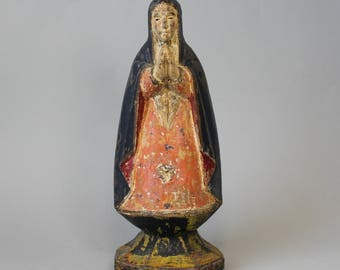 18th Century Hand Carved Polychrome Wood Figure of the Madonna Virgin Mary