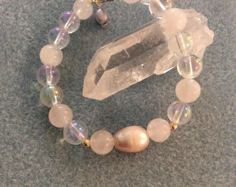 Angelic Guidance, Love, Lightbody Activation Angel Aura Quartz, Rose Quartz & Pink Pearl bracelet