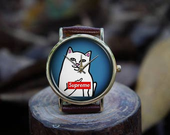 Funny CAT Middle Finger Unique Design Custom Watch (Good for Present Gifts, Decoration, Celebration, Wedding, Bridesmaid, Apparel Accessory)