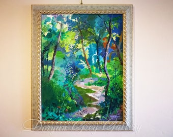A Creek in the Woods, Framed Oil on canvas card-board, Original Painting, Russian Art